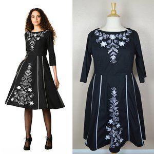 eshakti Stylized Floral Vine Embellished Dress